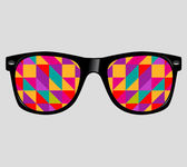 Sunglasses with abstract geometric triangles — Stock Vector