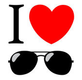 Print I love sunglasses — Stockvector
