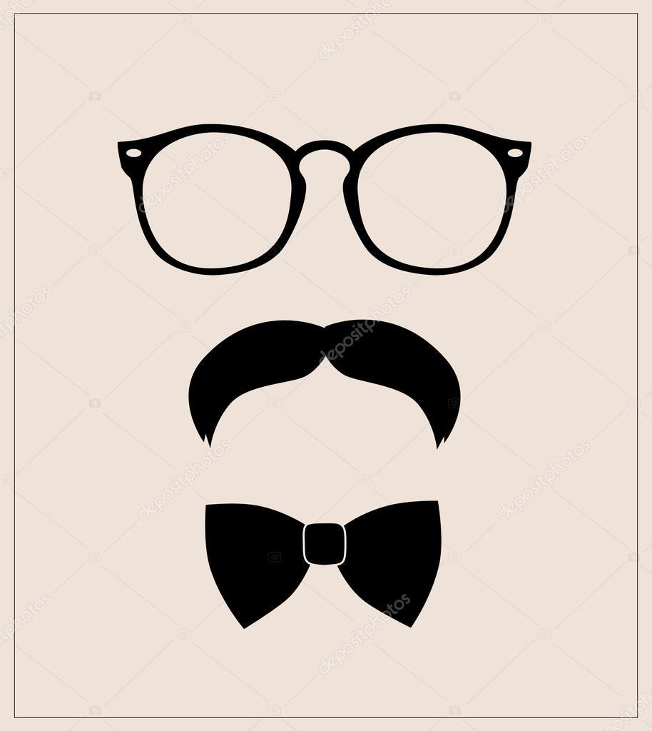 Estilo hipster set corbata de moño, gafas y bigote \u2014 Vector de ...
