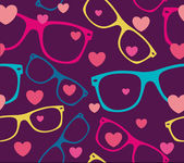 Sunglasses and hearts background — 图库矢量图片