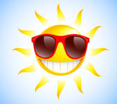 Funny sun with sunglasses. Vector illustration background — Stock Vector