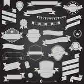 Big set retro design ribbons and badge Vector design elements — Stock Vector