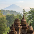 View on Merapi volcano from Borobudur temple - Stock Photo
