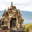 Borobudur temple in sunrise fog, Java island, Indonesia — Stock Photo