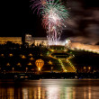 Colorful Fireworks over river — Foto de Stock