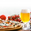 Composition of beer sushi and pizza — Stock Photo #26873885