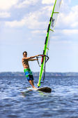 Front view of young windsurfer — Stock Photo