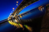 Bridge at a quiet night, tilted horizon — Stock Photo