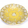 Antique yellow gold porcelain dish with grape pattern — Stock Photo #41638477