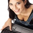 Top view of beautiful woman working on laptop — Stock Photo