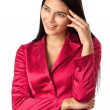 Portrait of a happy young business woman over white — Stock Photo