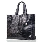 Black female bag over isolated over white — Stock Photo