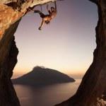 Rock climber at sunset. Kalymnos Island, Greece. — Stock Photo #15423847