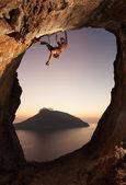 Rock climber at sunset. Kalymnos Island, Greece. — Stock Photo