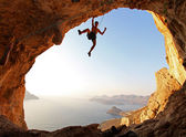 Rock climber at sunset. Kalymnos Island, Greece. — Foto Stock