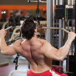Rear view of young fitness guy working out on exercise machine - Stockfoto