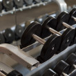 View of rows of dumbbells on a rack in a gym - Stock Photo