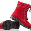 Red female boots — Stock Photo