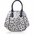 Female black and white leather bag — Stock Photo