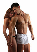 Beautiful athletic couple after training — Stock Photo