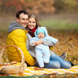 Young couple with baby boy on picnic — Foto Stock