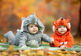 Two baby boys dressed in animal costumes — Stock Photo