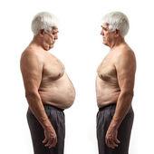 Overweight man and regular weight man over white — Stock Photo