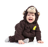 Baby boy dressed in monkey costume over white — Foto Stock
