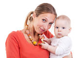 Young Caucasian woman and baby boy — Stock Photo