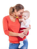 Young Caucasian woman and baby boy over white — Stock Photo