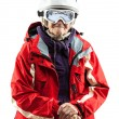 Senior woman wearing ski jacket and helmet — Stock Photo