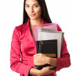 Young beautiful girl holding files — Stock Photo