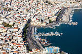 An aerial view of the city of Pothia. Greece — Stock Photo