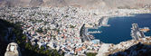 An aerial view of the port of Pothia. Greece — Stock Photo