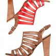 Two leather sandal shoes, with clipping path — Stock Photo #8941248