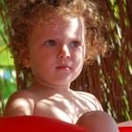 Portrait of cheerful blonde girl child. — Stock Photo