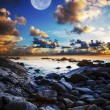Stock Photo: Full moon seascape