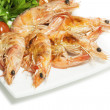 Roasted shrimps on the plate - Stockfoto