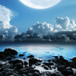 Stock Photo: Full moon. Long exposure shot. Vertical panoramic composition.