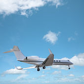 Private jet in a sky is maneuvering for landing. Square composit — Stock Photo