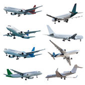 Rel jet planes set, isolated on white background — Stock Photo