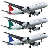 Legen sie die echten jet-flugzeuge. isoliert auf weißem hintergrund. — Stockfoto