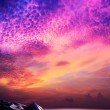 Amazing sunset over the rocky coast. Vertical panoramic composit — Stock Photo