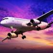 Jet is maneuvering in spectacular sunset sky — Stock Photo #24646735