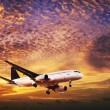 Jet is maneuvering in spectacular sunset sky — Stock Photo