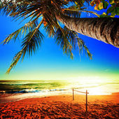 Schilderachtig uitzicht van verbazingwekkende tropisch strand. vierkante samenstelling. — Stockfoto