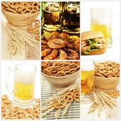 Bier und Snack-Auflistung — Stockfoto