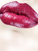 Sensual female lips macro. Vertical shot. — Stock Photo