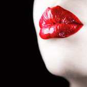 Beautiful red lips. Square composition. — Stok fotoğraf