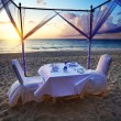 Stock Photo: Ready for romantic dinner on the beach